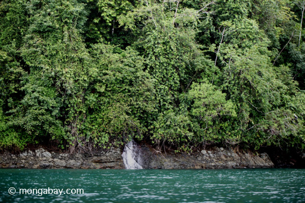 Waterfall entering the turquoise sea and rainforest of Isla Gorgona