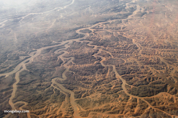 Aerial view of Egypt's drylands. Research has linked a changing climate with the downfall of Egypt's Old Kingdom 4,200 years ago. Photo by Rhett A. Butler.