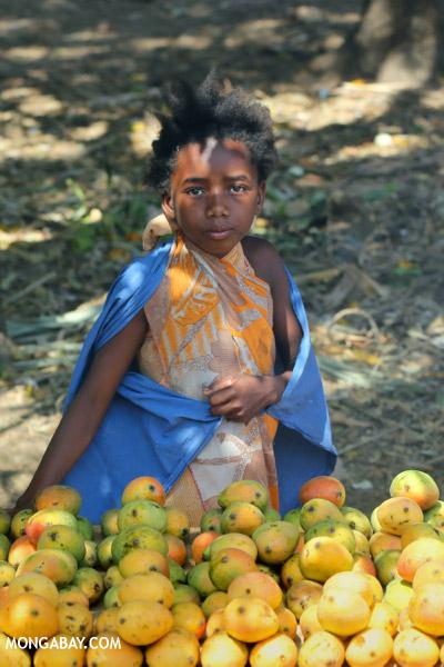 Girl selling mangos alongside a road