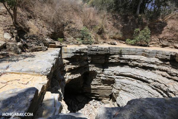 Giant sinkhole in Ankarana riverbed