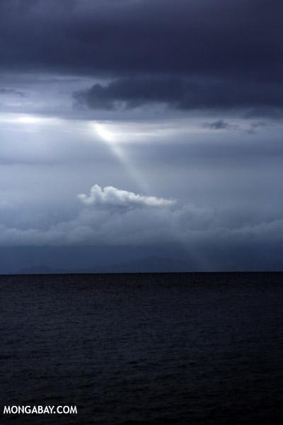Sunbeam over the ocean