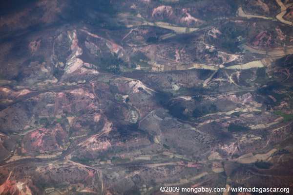 Aerial view of deforestation near Tana