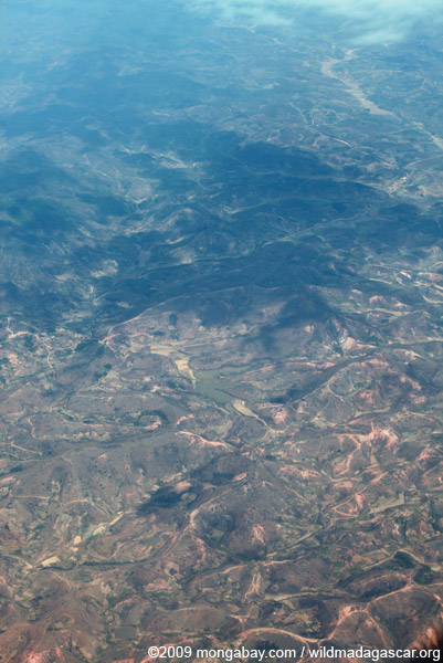 Airplane view of deforestation in Madagasar
