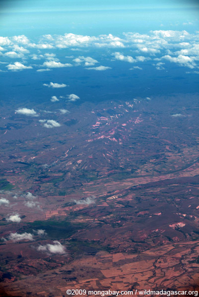 Airplane view of deforestation and erosion in Madagasar