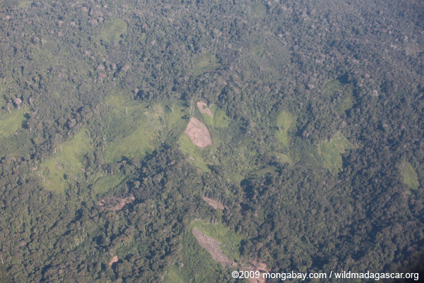 Aerial view of deforestation in Madagasar