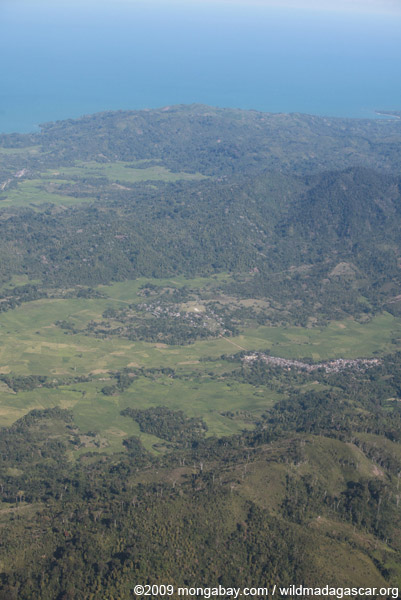 Aerial view of a town near Maroantsetra in Madagasar