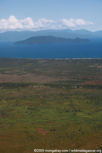 Aerial view of Nosy Mangabe and the Bay of Antongil