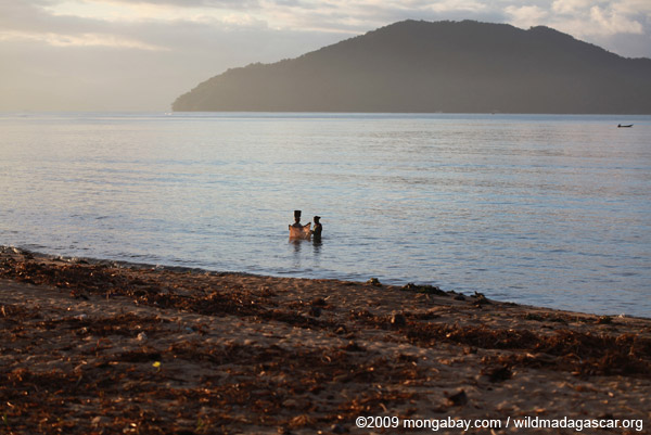Villagers fishing at in the early morning on a beach near Maroantsetra