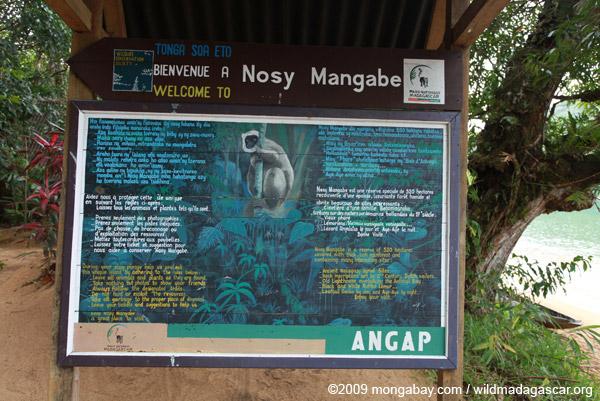 Nosy Mangabe Welcome sign