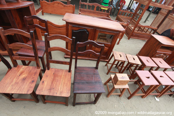 Chairs and furniture made from precious hardwoods in Madagascar