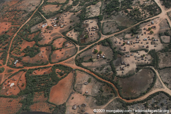 Aerial view of an Antandroy village