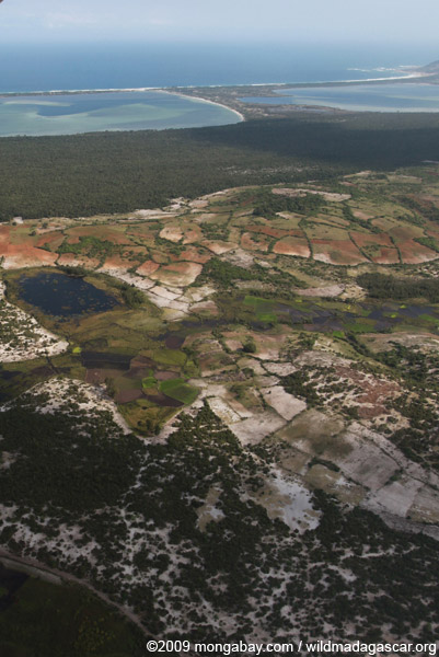 Aerial view of rice paddies, forest degradation, and erosion near Ft. Dauphin