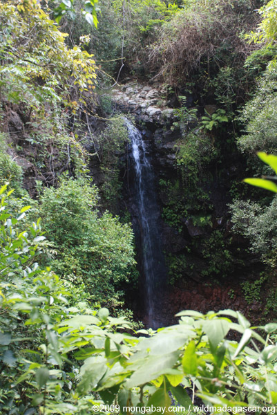 Waterfall in Le Domaine de Fontenay's private forest reserve