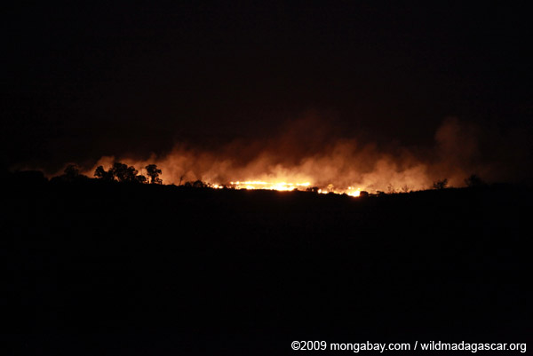 Land-clearing fire in Madagascar