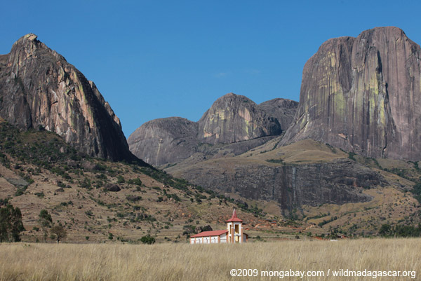 A church rests in the shadows of mountains in Madagascar's Tsaranoro Valley. Photo by: Rhett Butler.