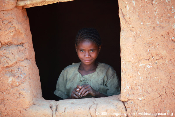 Girl in village in Madagascar. One of the world's poorest countries, it has been estimated that about 70 percent of Malagasy people suffer from malnutrition. Photo by: Rhett A. Butler.