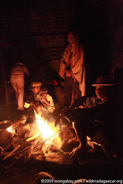 Bara around a camp fire