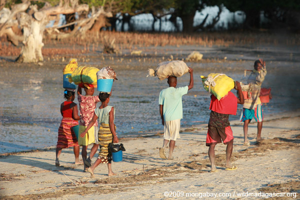 Malagasy carrying goods to market on a beach near Tulear