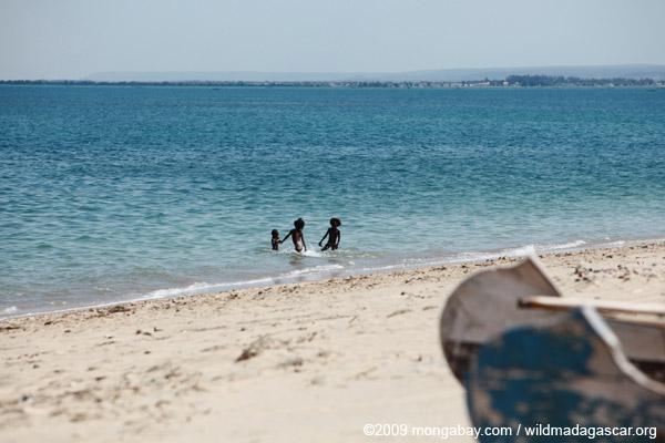 Vezo children playing in the ocean