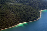 Remote tropical beach on Pulau Gaya