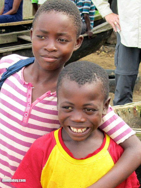 Kids in a Congo fishing village