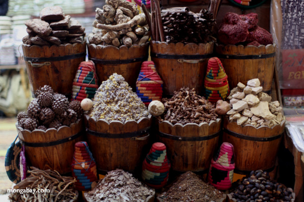 Colorful spices at a market in Aswan