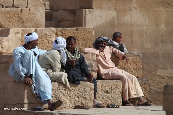 Men at the Temple of Kom Ombo