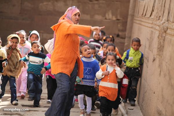 School children touring the Temple of Kom Ombo [egypt_0543]