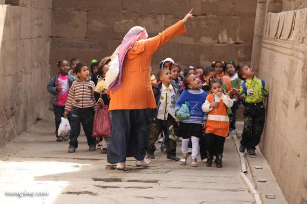 School children touring the Temple of Kom Ombo [egypt_0548]