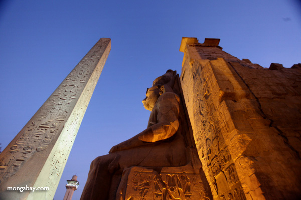Obelisk and Ramses II statue at Luxor Temple [egypt_1454]