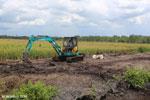 Excavator on peatland
