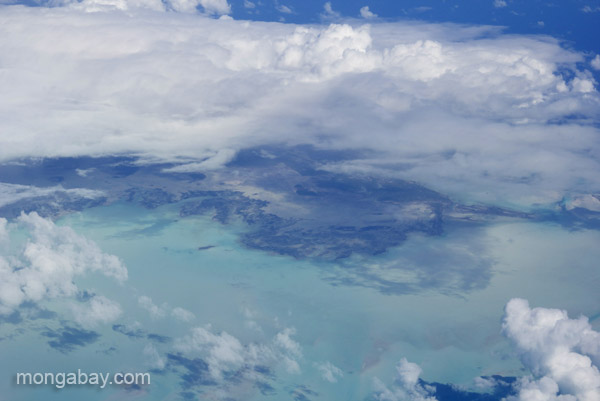 An aerial view of an island in the Caribbean.