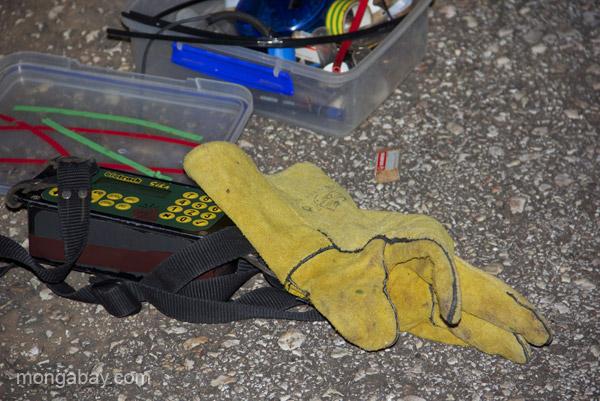 Research gear needed for tracking the Hispaniolan solenodon (Solenodon paradoxus) near Pedernales, Dominican Republic.