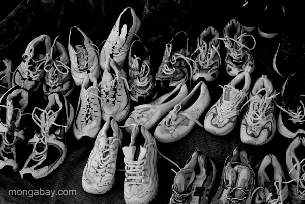 Used shoes (donated to Haiti Relief efforts) for sale at the bi-weekly Haitian market in Pedernales, Dominican Republic.