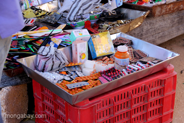 Medication for sale at the bi-weekly Haitian market in Pedernales, Dominican Republic.