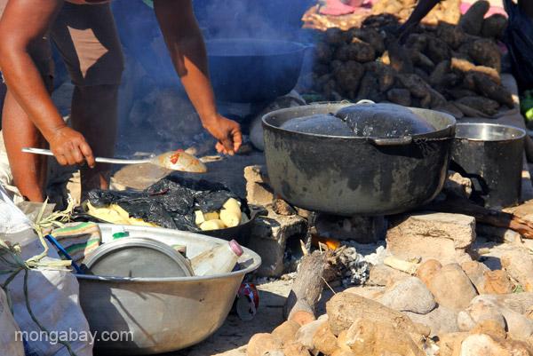 Food cooking at the bi-weekly Haitian market in Pedernales, Dominican Republic.