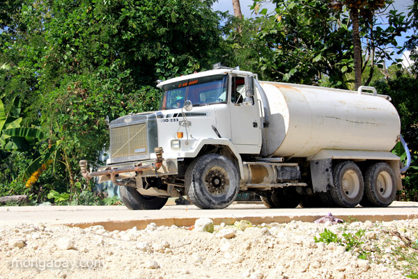 A truck brings drinking water to the village of Mencia in the Pedernales Province of the Dominican Republic.