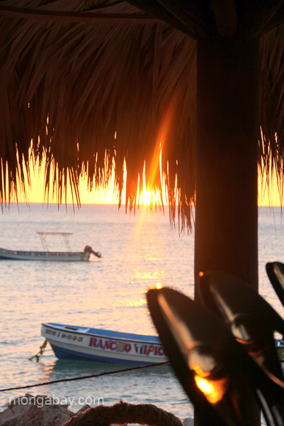 Sunset at the café at the departure point for Bahia de las Aguilas at Jaragua National Park in the Dominican Republic.