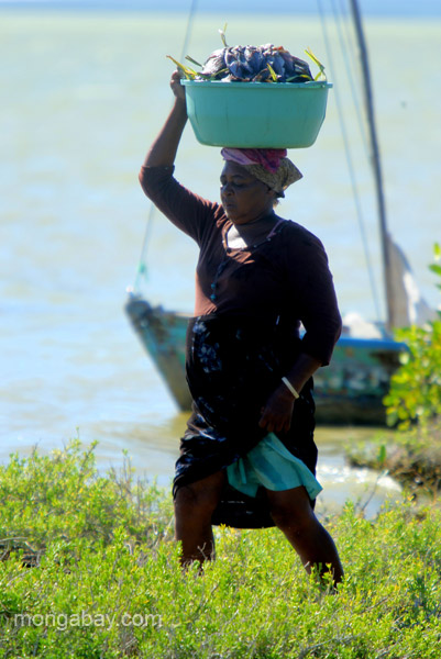 A local woman carries fish on her head at the Oviedo Lagoon in the Dominican Republic.