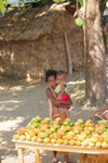 Girl selling mangos alongside a road [madagascar_ankarafantsika_0390]