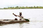 Man paddling a canoe near Maroantsetra