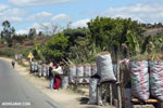 Charcoal for sale along a road in Madagascar