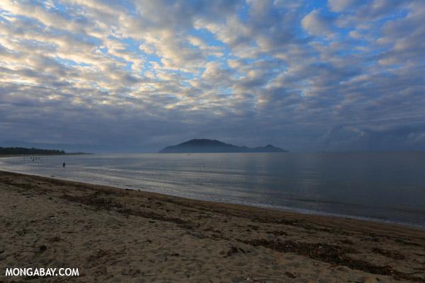 Sunrise over Nosy Mangabe and the beach in Maroantsetra