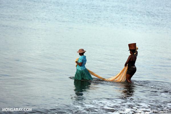 Villagers fishing on a beach in Maroantsetra