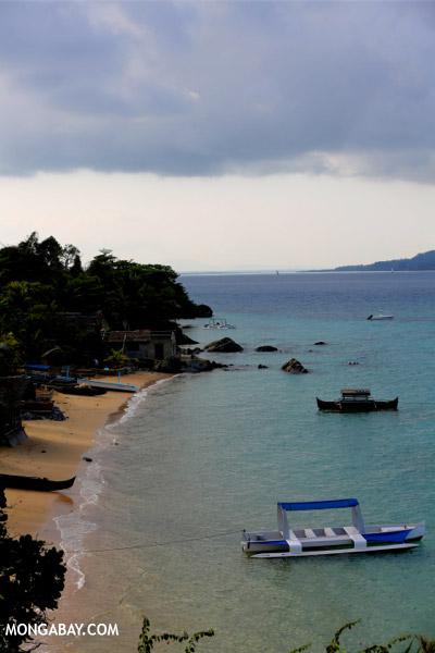 Boats along a beach on Nosy Komba