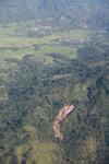 Aerial lavaka near Maroantsetra in Madagasar