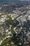 Aerial view of rice fields, forest degradation, and erosion in southern Madagascar