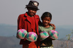 Malagasy girls selling hats