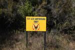 No cattle grazing sign ('Tsy Azo Ampidirana Omby')