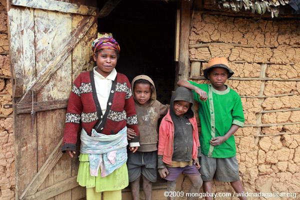 Family in a tiny village near Mantandia